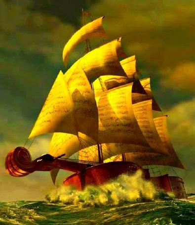 Фото Скрипка-корабль с парусами -нотами плывет по морским волнам