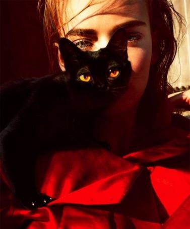 Фото Модель Нимуэ Смит / Nimue Smit в загадочном образе женщины кошки, фотограф Txema Yeste / Тксема Есте