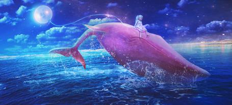 Фото Девочка сидит на спине у кита и держит на веревочке луну
