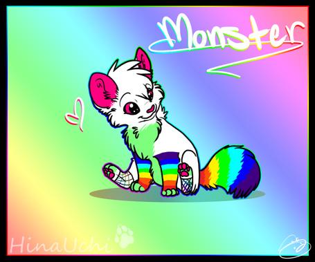 Фото Радужная кошка на радужном фоне, автор CyanBirdDog (Monster. Hina Uchi / Монстр. Хина Учи)