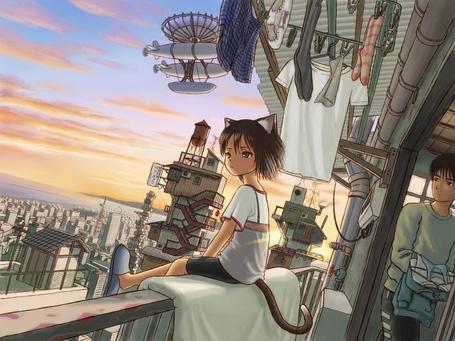 Фото Неко-девочка сидит на перилах балкона, сзади в дверном проеме стоит парень