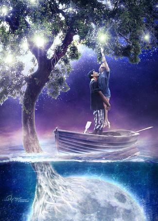 Фото Парень держит на руках девушку, которая пытается дотронуться до огонька; оба стоят в лодке, проплывающей над корнями дерева, переходящими в полную луну, автор Rungue