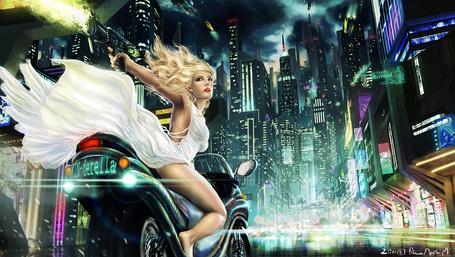 Фото Девушка в белом платье и с пистолетом в руке едет на мотоцикле по ночному городу, автор Anne Marte Markussen