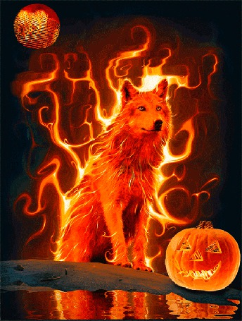 Фото Волк стоит на камне, рядом лежит тыква, позади горит огонь