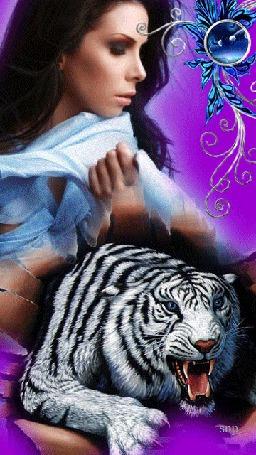 Фото Брюнетка с развивающимися волосами на фоне белого тигра с открытой пастью