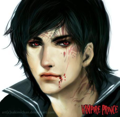 Фото Вампир с татуировкой на лице и кровью на губах (Vampire Prince / Принц Вампиров), художник sakimichan