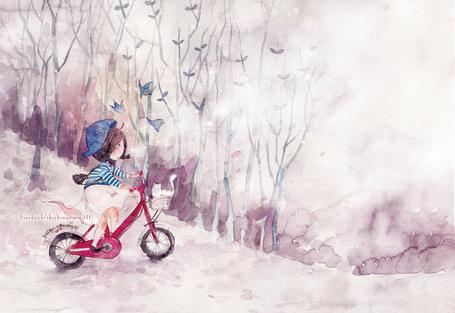 Фото Девочка едет на красном велосипеде с котом в корзинке, художник Shishi Nguyen