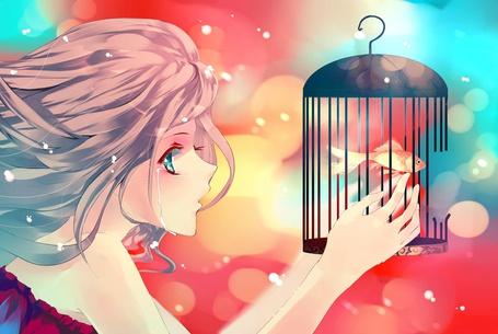 Фото Девушка держит в руках клетку с рыбкой и плачет, смотря на нее