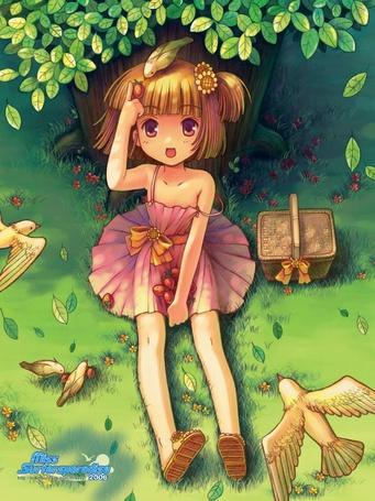 Фото Девочка, сидящая на траве под деревом, приложила руку к голове, на которой сидит птичка, рядом на траве стоит корзина и сидят две птички, еще две летают рядом (Miss Surfersporadise)