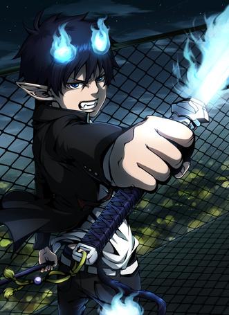 Фото Okumura Rin / Окумура Рин из аниме Синий Экзорцист / Ao no Exorcist / Blue Exorcist с пылающим мечом в руке