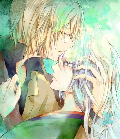 Фото Микагэ / Mikage целует в лоб Томое / Tomoe из аниме Kamisama Hajimemashita / Очень приятно, Бог