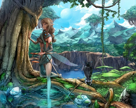 Фото Красивая девушка эльф стоит прислонившись к дереву на фоне неба, высоких гор и озера