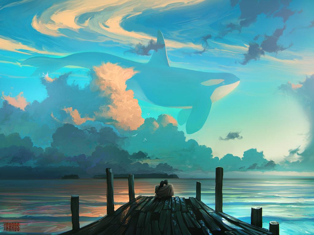 Киты рисунки в небеса