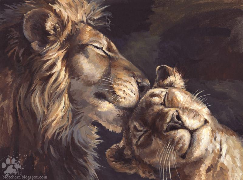 Лев и львица рисунки поэтому