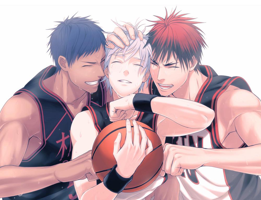 Фото Tetsuya Kuroko / Тэцуя Куроко Taiga Kagami / Тайга Кагами и Aomine Daiki / Аомине Дайки из аниме Kuroko no Basket / Баскетбол Куроко