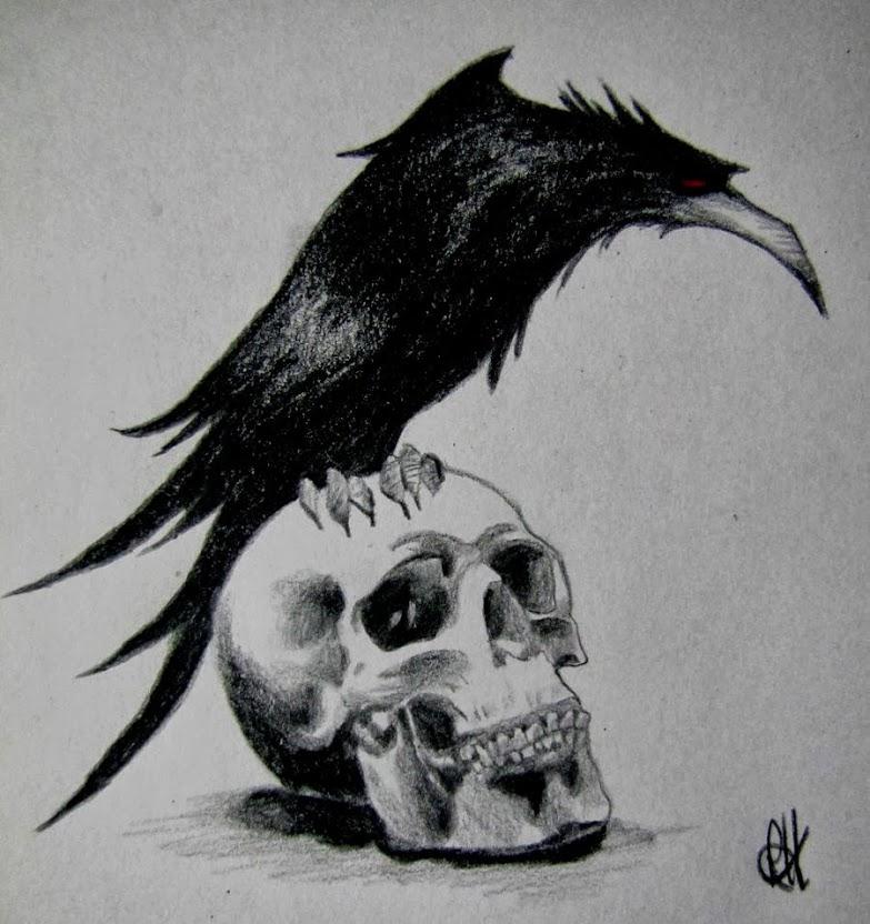 Сидящий ворон рисунок