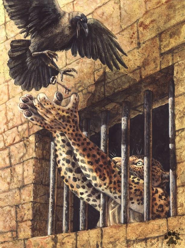 Опубликовал. Леопард протягивает лапы через решетчатое окно, ловя