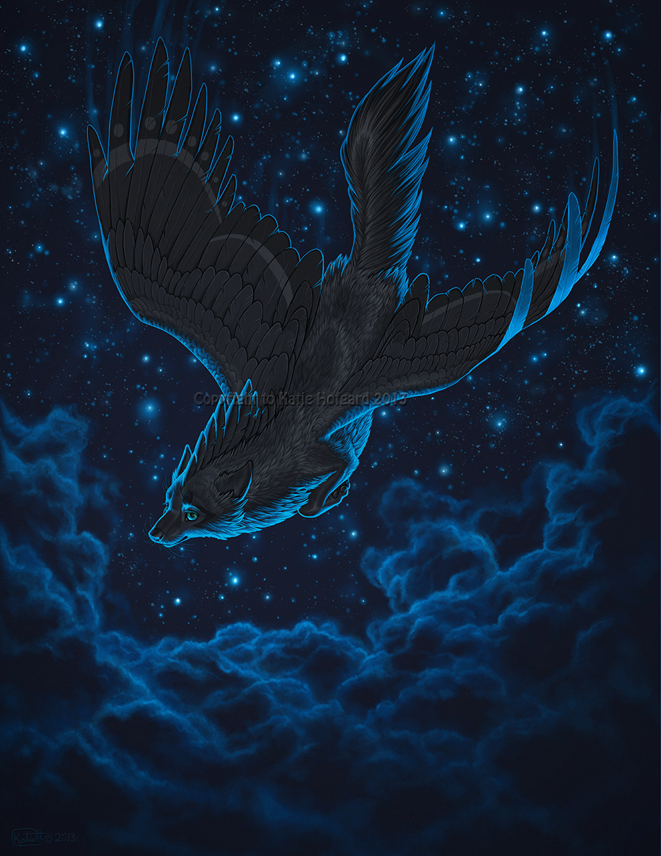 Фото Волк с крыльями падает с небес, художник Shadow-Wolf