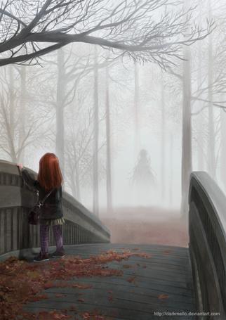 Фото Маленькая девочка стоит на мосту, на котором лежат красные опавшие листья, рядом простирается лес, окутанный туманом, в котором виден силуэт человека