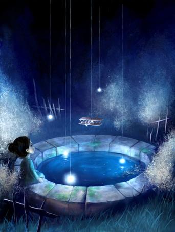 Фото Девочка сидит у колодца, над которым висит игрушечный самолет, художница AquaSixio