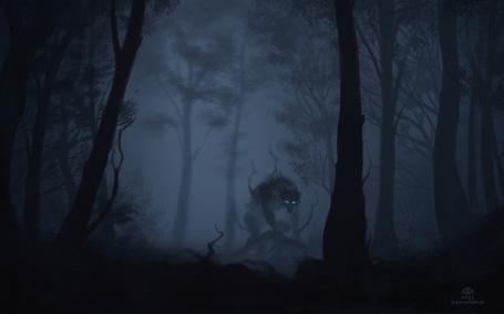 Фото Волк посреди мрачного леса, художник alectorfencer