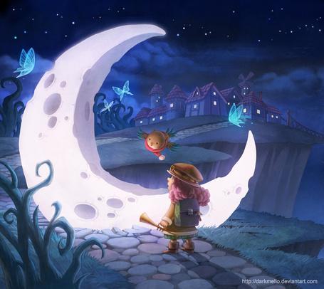 Фото Девочка с попугем в окружении бабочек, смотрит на упавший с неба месяц, художник darkmello
