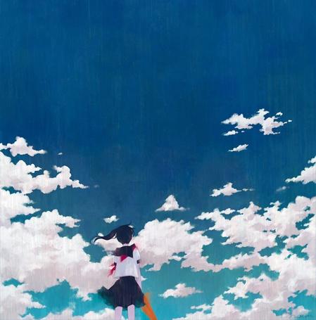 Фото Девушка- школьница с зонтом в руках стоит на фоне неба