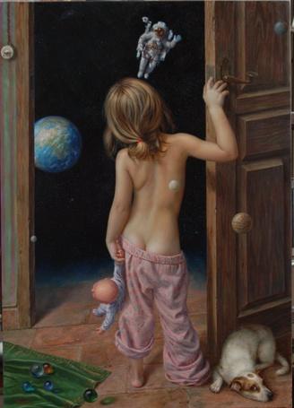 Фото Девочка с куклой в руке стоит у двери, возле которой лежит собака, и смотрит на летящего космонавта, художник Alex Alemany / Алекс Алемани