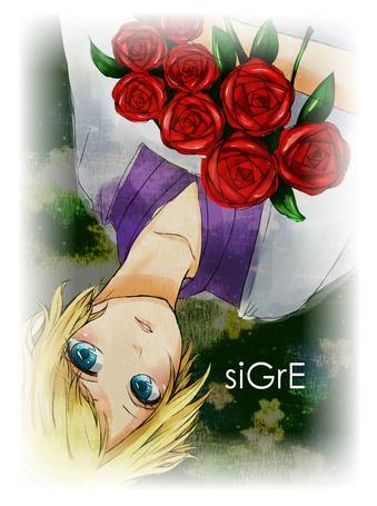 Фото Vocaloid Len Kagamine / Воколоид Лен Кагамине с букетом роз (siGrE) (© chucha), добавлено: 08.10.2013 00:34