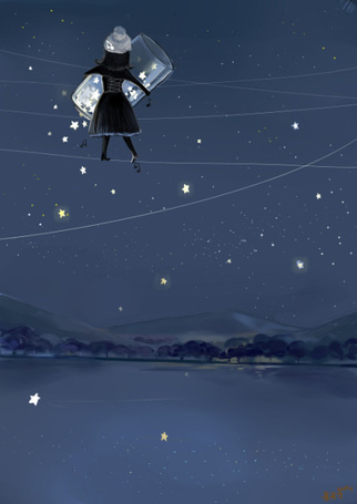 Фото Девочка, стоящая на фоне ночного неба, высыпает из банки звезды