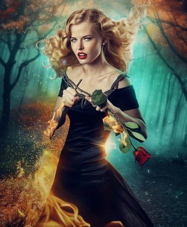Фото Блондинка, в черном платье, с розой в руке, с эффектом огня, обволакивающим ее снизу, автор sara-hel