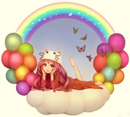 Фото Vocaloid Megurine Luka / Вокалоид Мегурине Лука лежит на облаке, к которому привязаны разноцветные воздушные шарики, над облаком летают бабочки и видна радуга