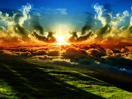 Фото Закат солнца над полем