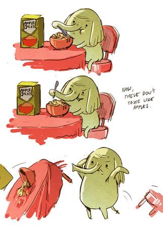 Фото Слоненок, неудовлетворенный вкусом яблочных хлопьев, переворачивает стол (Now, these dont taste like apples / Теперь они не напоминают вкус яблок) (© Pantomime), добавлено: 12.10.2013 12:23