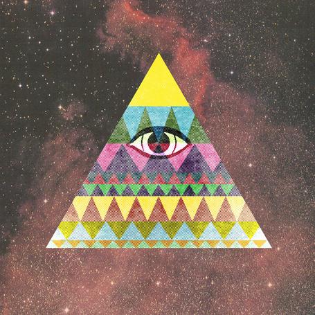 Фото Разноцветный треугольник с глазом на фоне космоса