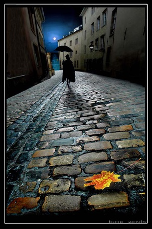 Фото Человек с зонтом идет по булыжной мостовой в ночном городе, на переднем плане осенний лист, автор igor zenin