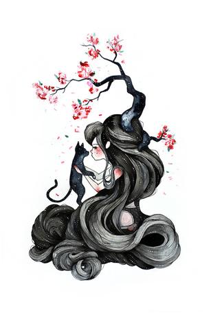 Фото Запутавшаяся в своих волосах девушка, из головы которой растет дерево, держит в руках черного кота