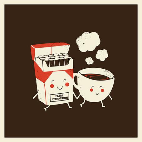 Фото Пачка сигарет и чашка кофе, держащиеся за руку (Fatal attraction / Роковое влечение) (© Pantomime), добавлено: 13.10.2013 17:42