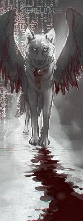 Фото Волк с крыльями под снегопадом, художник vjorgen