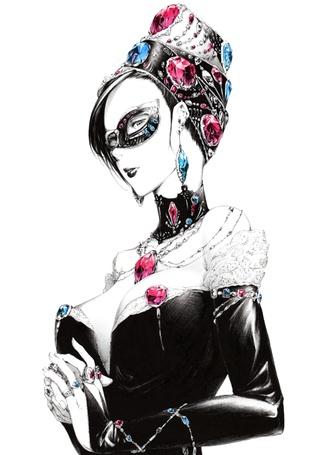 Фото Девушка в маске и различных украшениях, art by sawasawa