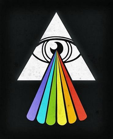 Фото Радуга, выливающаяся из глаза в белом треугольнике, автор Norman Duenas