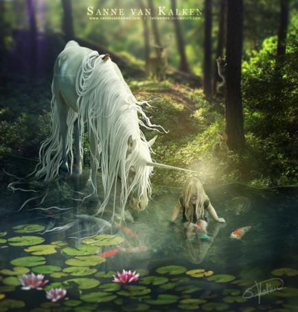 Фото Белый единорог принюхивается к воде, в которой сидит девочка, фотоарт Sanne van Kalken