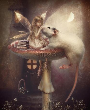 Фото Девочка - фея сидит на грибе возле дома лаская белую крысу, в небе светит луна, фотоарт Cindy Grundsten / Синди Грундстен