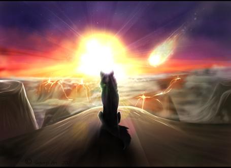 Фото Одинокий волк сидит на горе, любуясь заходом солнца, летящей кометой и ожившими вулканами, художник Segnory