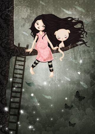 Фото Девочка с развевающимися волнистыми темными волосами, в розовом платьице и полосатых леггинсах, с розовым котенком сидит на ветке разрисованного узорами дерева, к которой привязаны белые ниточки с сердечками и облачками, куда она забралась по лесенке, art by Anne Cresci