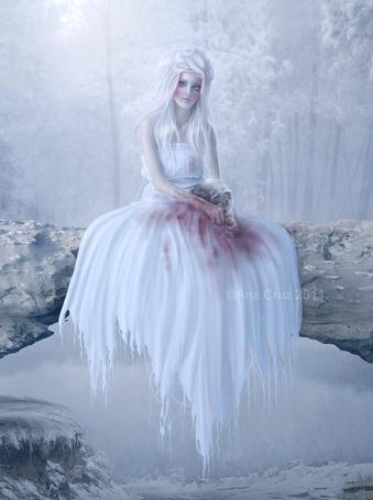 Фото Девушка в белом платье, испачканном в крови, держит в руках череп