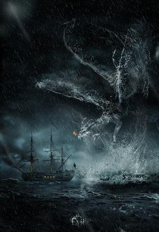 Фото Водяной дракон склонился над кораблем в море