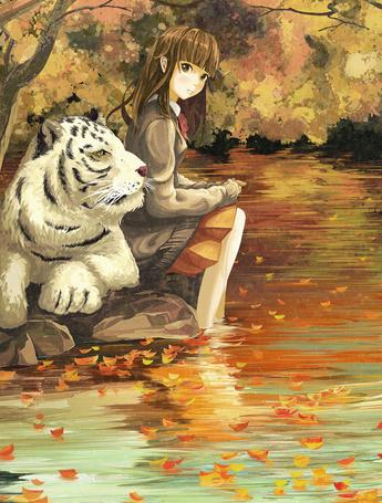 Фото Девушка сидит на камне, опустив ноги в воду, рядом лежит белый тигр