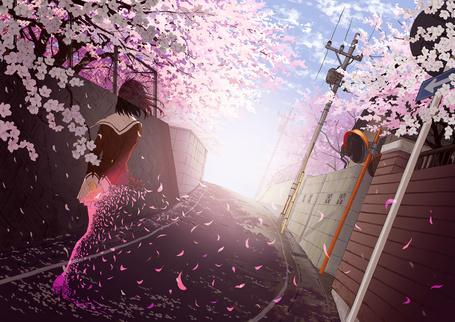 Фото Девушка в школьной форме рассыпается лепестками, художник Goke☆Shike