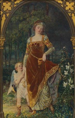 Фото Женщина с ребенком стоят у арки, рядом цветы